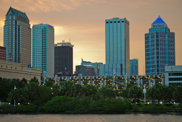 Downtown Tampa from Harbor Island at sunset by Robert Neff, on Flickr