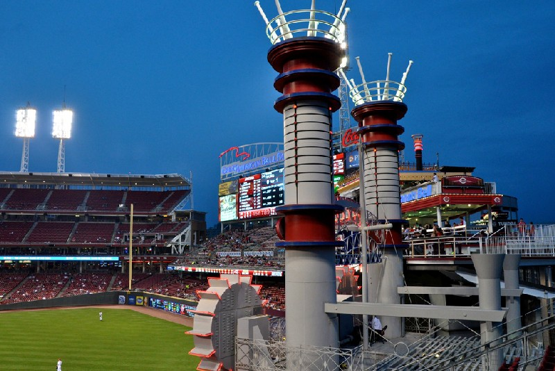 Smokestacks at Great American Ball Park by Geoff Livingston, on Flickr