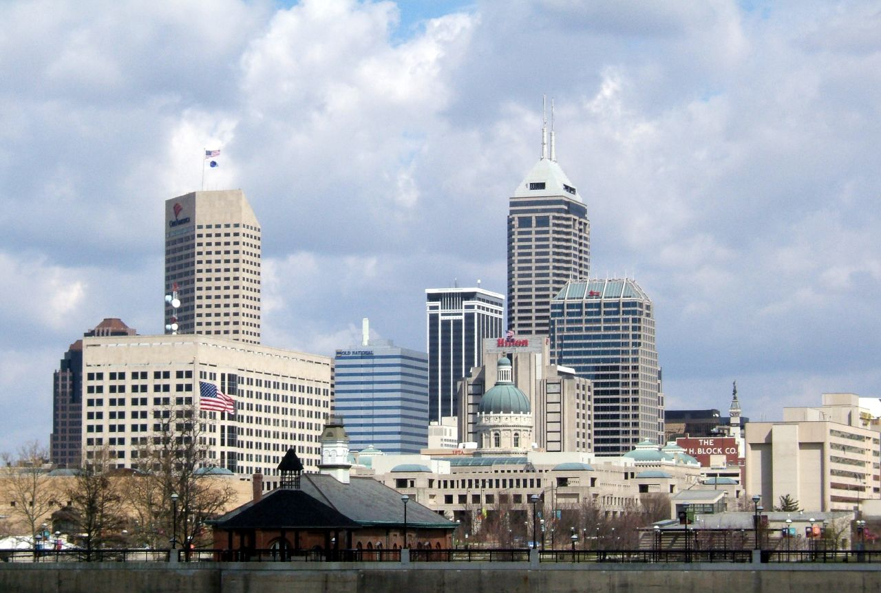 The Indianapolis Downtown Skyline closeup - DSCF1025 by ExistDifferently, on Flickr